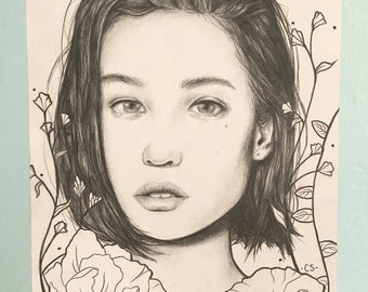 Original Pencil Drawing Portrait of a Girl with Flowers