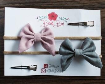 Baby Bow Set, Baby Headband Set, Sailor Bow Set, Breakaway Bow Set