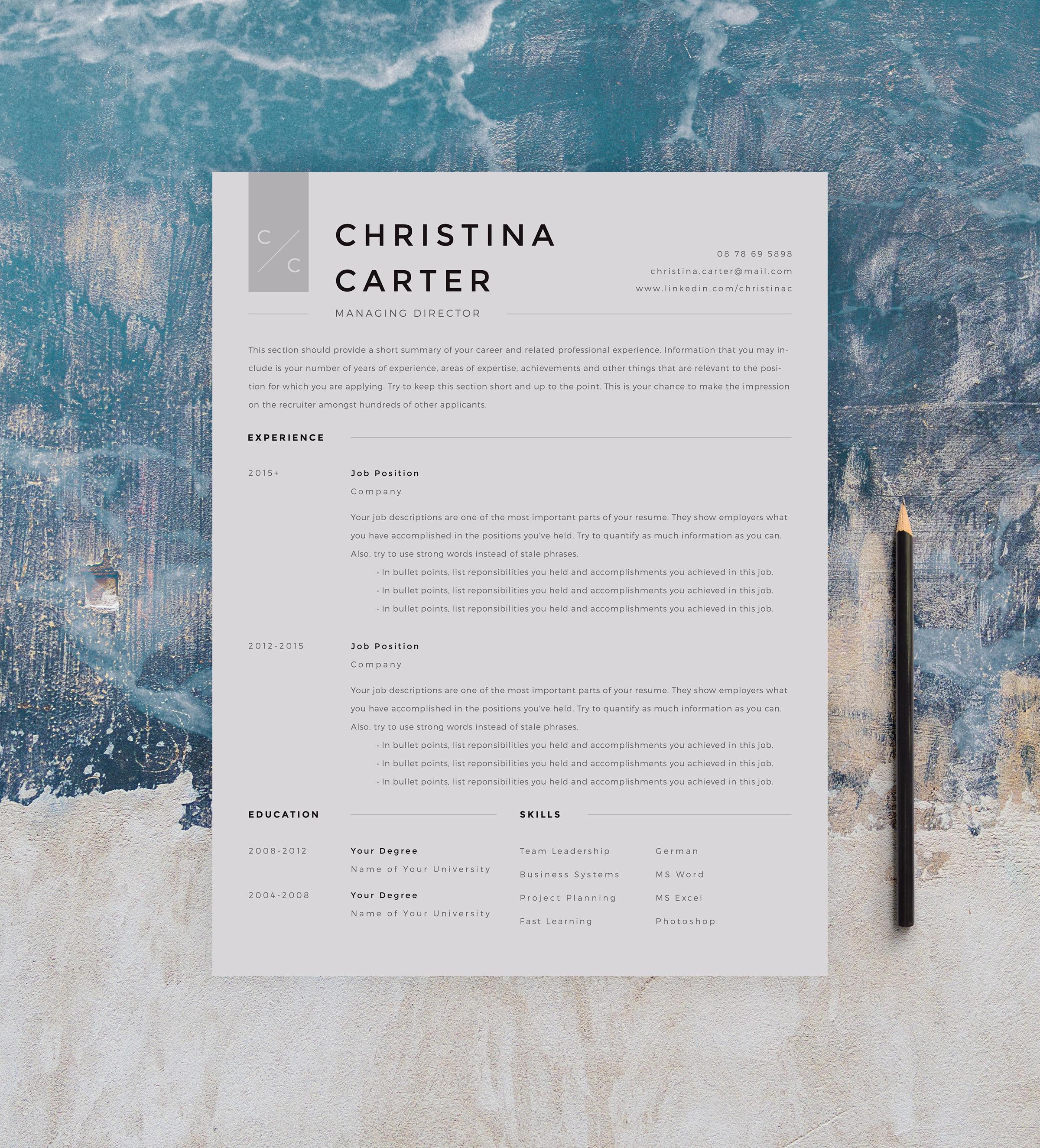 Modern Resume Template Minimalist Resume Creative Resume Cv