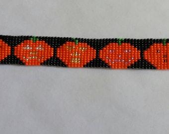 Halloween Pumpkin loom beaded Bracelet