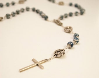 Sterling and Chinese Porcelain Rosary