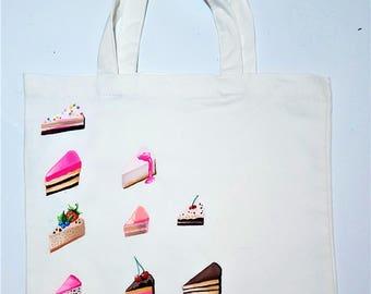 Hand Painted Cake Slice Illustration Tote Bag