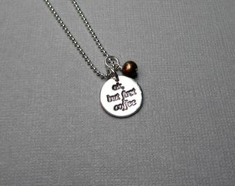 Coffee Lover Pendant Necklace, But First Coffee, Caffeine Addict Gift, Coffee Lover Gift, Sterling Silver, PMC, Fine Silver, Co Worker Gift