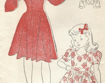1940s New York 1716 FF Vintage Sewing Pattern Girls Full Skirt Party Dress Size 6