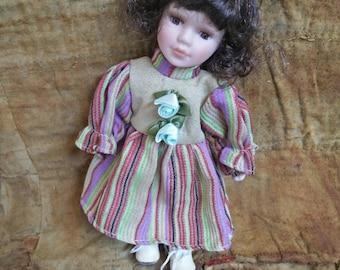 Doll, Vintage Doll, Vintage Porcelain Doll, Victorian style doll, Collectable doll, porcelain doll, antique style doll, short curly hair