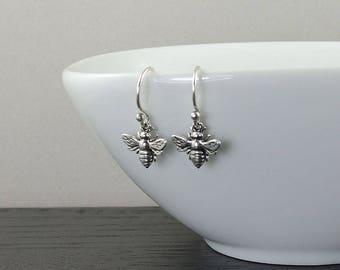 Bee Earrings - sterling silver bee, bee jewelry, honey bee, insect earrings, insect jewelry