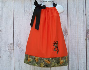 Camo Pillowcase Dress / Realtree + Orange / Deer / Flower Girl / Rustic Wedding / Newborn / Infant/ Baby / Girl / Toddler/ Boutique Clothing