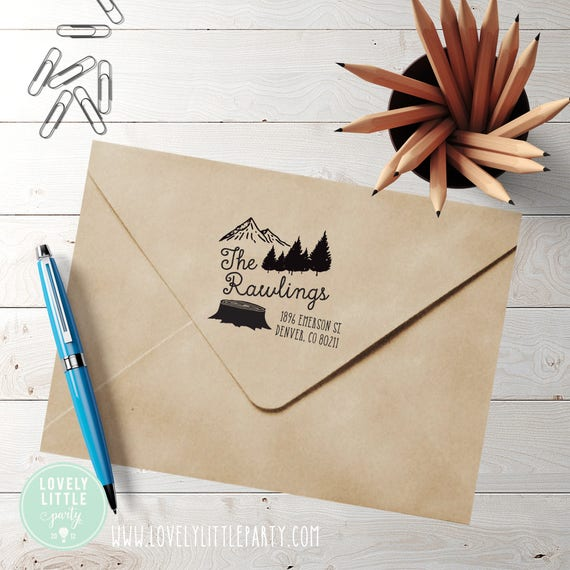 Mountains Trees custom self inking address stamp, Wilderness Address Stamp style 401 - Lovely Little Party