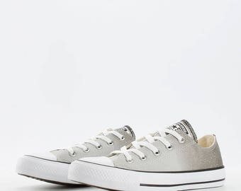 Converse low top Gray Glitter Wash Chuck Taylor Canvas Grey Custom w/ Swarovski Rhinestone Crystal Bling Ombre All Star Sneakers Shoes