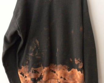 Tie dye Acid wash Sweatshirt, Gray sweatshirt, Crewneck Sweatshirt, Tie dye, Grunge, Xlarge, Rocker, Graphic, dip dye, retro sweatshirt
