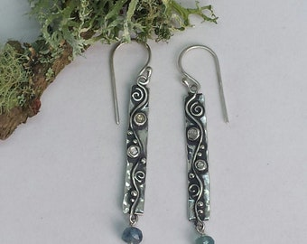 Sterling Silver Water Inspired Earrings with Sapphires and Aquamarines