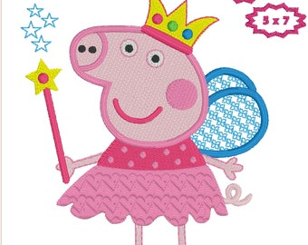 Princess Peppa Pig embroidery design