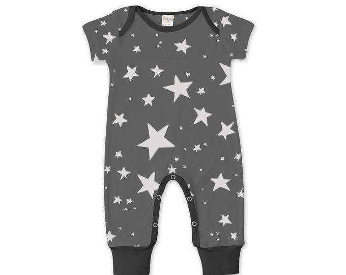 Newborn Baby Boy Coming Home Outfit Summer, Baby Boy Stars Gray Romper, Baby Girl Star Romper Minimalist Stars Romper Tesa Babe 86SRBK