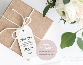 Wedding Favor Tags Printable, Custom Wedding Favor Tags, Wedding Tags, Small Favor Tags, Rustic Gift Tags, 100% Editable in Templett