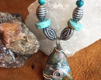 Bloodstone Jasper Stone Pendant Necklace w/ Silver & Turquoise Color Beads - Boho Earthy Natural Jewelry Accessory Pendant Necklace