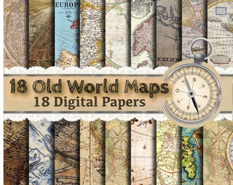 Old World Map Paper - Vintage Maps, Vintage Map Paper, Map Scrapbooking Paper, Vintage Scrapbook Paper, Shabby Chic Paper, Old School Paper