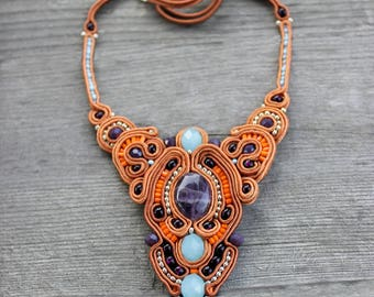 Inspiration Bohemian Bib necklace Statement necklace Boho jewelry Soutache necklace Purple orange necklace Terracotta Christmas gift-for-her