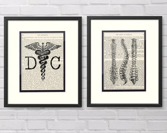 Chiropractic Art, Chiropractor Art - Set of 2 Prints - DC, Spine over Vintage Medical Book Pages - Great Chiropractic Graduation Gift Idea
