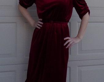 1970's does 1930's GARNET VELVET DRESS ruched sleeves M L