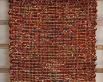 """Hand Woven Red Yellow Christmas Table Runner - 15"""" x 28"""""""