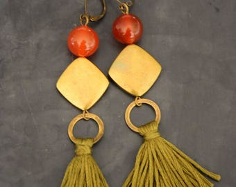 Diamond and gemstone tassel earrings
