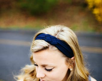 Women's Headband in Navy Blue, Adult Headband, Knotted Headband, Stretchy Headband, Sailor Knot Headband, Nautical Headband, Cloth Headband