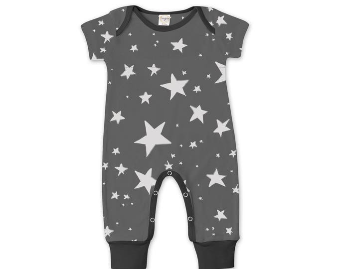 WINTER SALE! Newborn Baby Boy Coming Home Outfit Summer, Baby Boy Stars Gray Romper, Baby Girl Star Romper Minimalist Stars Romper Tesa Babe