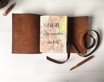 Personalised travel journal, map gift, Wanderlust gift, personalized valentine gifts, leather travelers notebook, travel, monogram optional