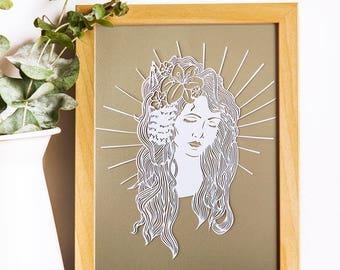 Japanese Woman / Japanese Woman Art / Japanese Geisha / Geisha Art / Japanese Wall Art / Japanese Art / Oriental Wall Art / Paper Cut Art