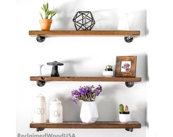 ANY SIZE, Quick Installation, Rustic floating shelf, Reclaimed wood shelves,  Floating shelves