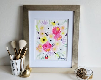 Pinky Peach Florals - Original Watercolor Painting - 9 x 12 inches on paper