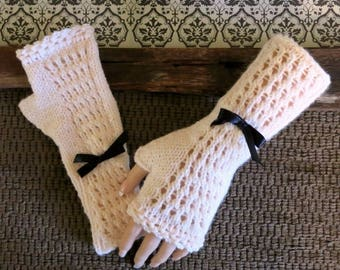 Warm Knitted Fingerless Gloves, Salmon Lace Burlesque, Arm Warmers, Winter Wool Gloves, Womens Accessories Patterned Gloves 48 colours