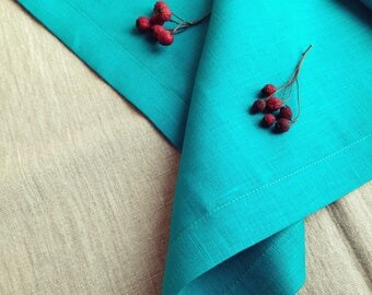 Teal Linen Tablecloth   Teal Blue Linen   Turquoise Linen Tablecloth   Pure Linen  Tablecloth