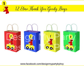 12 ELMO GOODY BAGS, Elmo Party and Paper Supplies, Elmo Paper Supply, Elmo Goodie Bags, Elmo Favors, Elmo Thank you Bags,Elmo Decor.