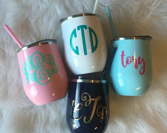 Personalized monogrammed custom stainless steel double wall 12 oz  swig like insulated wine cocktail tumbler with lid and straw