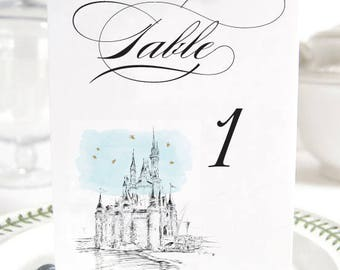Disney World Inspired Castle, Fairytale Wedding, Disney Table Numbers (1-10)