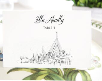Boston Zakin Bridge View Skyline Place Cards, Placecards, Escort Cards, Wedding, Custom with Guests Names (Set of 25 Cards)