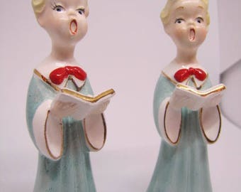 2 Holiday Carolering Figurines in Pale Blue
