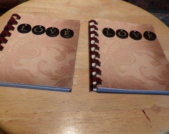 Small spiral notebook, small spiral journal, love notebook, gift for her, stocking stuffer, planner, upcycled notebook