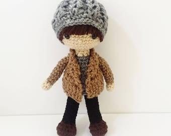 Crochet Doll / Amigurumi Stuffed Boy Doll Toy / Ash