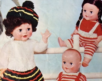 "vintage knitting pattern 1950's P&B SC24 Dolls Clothes 10"" 12"" 14"" 16"" doll"