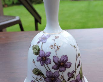 Vintage 1981 Lefton China VIOLETS Bell Collectible