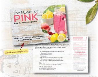 plexus, plexus sample card, Custom Sample Postcard, New Pink Drink Sample Postcard, plexus swag - Free Shipping
