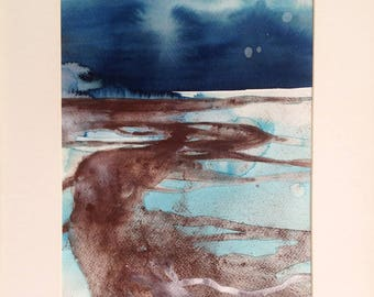 Original painting - At Low Tide 3 - Ink and pigments on paper with cardboard around. Abstract landscape, contemporary art.