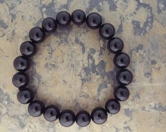 Black Beaded Bracelet, Resin Stretch Bracelet , Resin Beads 10mm