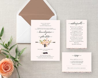 Invitation Package Dusk Pink And Floral Kit, Printable, Wedding Invite,  RSVP, Wishing