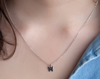 Sterling Silver - silver Butterfly pendant necklace Butterfly Necklace
