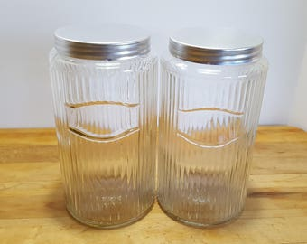 Two Hoosier Cabinet Glass Mission Traditional Jars Canisters, 2 Ribbed Jars, Mission Traditional Pattern Post -1919