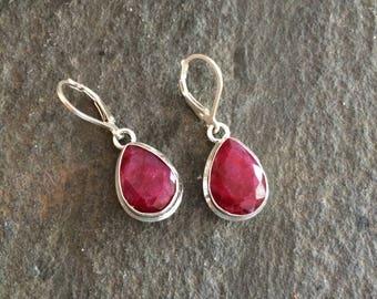 Red Ruby earrings Sterling Silver Leverback raw gemstone earrings red drop earrings faceted red Ruby jewellery July Birthstone jewelry