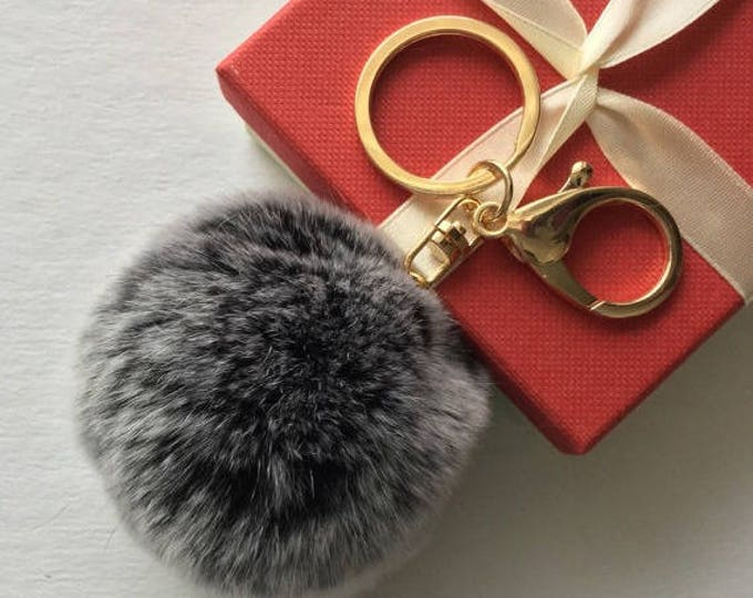 Fur pom pom keychain fur ball bag pendant charm made from Rex Rabbit Fur Black Frosted